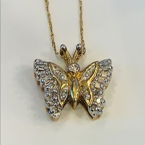10k yellow gold genuine diamond butterfly 20 inch